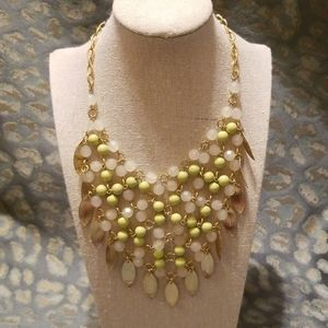 "Gold Lime Kt Green Bib Necklace 20""+5"